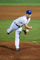 Bluefield Blue Jays relief pitcher Grant Townsend (33) delivers a pitch during a game against the Bristol Pirates on July 26, 2018 at Bowen Field in Bluefield, Virginia.  Bristol defeated Bluefield 7-6.  (Mike Janes/Four Seam Images)