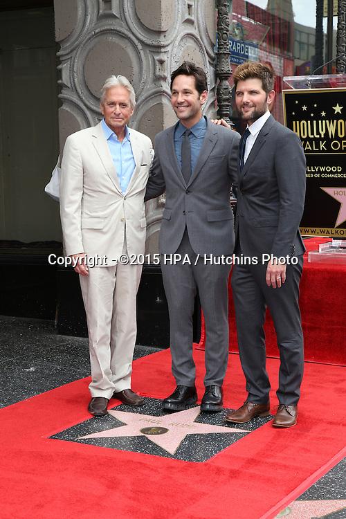 vLOS ANGELES - JUL 1:  Michael Douglas, Paul Rudd, Adam Scott at the Paul Rudd Hollywood Walk of Fame Star Ceremony at the El Capitan Theater Sidewalk on July 1, 2015 in Los Angeles, CA