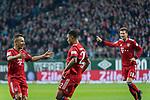 01.12.2018, Weser Stadion, Bremen, GER, 1.FBL, Werder Bremen vs FC Bayern Muenchen, <br /> <br /> DFL REGULATIONS PROHIBIT ANY USE OF PHOTOGRAPHS AS IMAGE SEQUENCES AND/OR QUASI-VIDEO.<br /> <br />  im Bild<br /> <br /> Serge Gnabry (FC Bayern Muenchen #22) zum 0 zu 1 <br /> <br /> jubel mit Rafinha (FC Bayern Muenchen #13)<br /> Leon Goretzka (FC Bayern Muenchen #18)<br /> <br /> Foto &copy; nordphoto / Kokenge