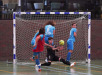 20190915– HALLE , BELGIUM : FP Halle-Gooik Girls B's captain Dorentina Nuhiji (in red) is shooting to score a goal and FP Halle-Gooik Girls A's goal keeper Floor Schepmans is trying to intercept during the Belgian Women's Futsal D1 match between FP Halle-Gooik A and FP Halle-Gooik B on Sunday 15th 2019 at the De Bres Sport Complex in Halle, Belgium. PHOTO SPORTPIX.BE | Sevil Oktem
