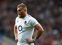 Brad Shields of England looks on during a break in play. Guinness Six Nations match between England and Italy on March 9, 2019 at Twickenham Stadium in London, England. Photo by: Patrick Khachfe / Onside Images
