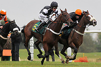 Race winner Makari (5) ridden by Andrew Tinkler jumps alongside House Party ridden by Denis O'Regan (R) in the Huge Prize Money At Fakenham 26th October Novices Hurdle