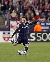 New England Revolution defender Ryan Cochrane (45) passes the ball. In a Major League Soccer (MLS) match, Real Salt Lake defeated the New England Revolution, 2-0, at Gillette Stadium on April 9, 2011.