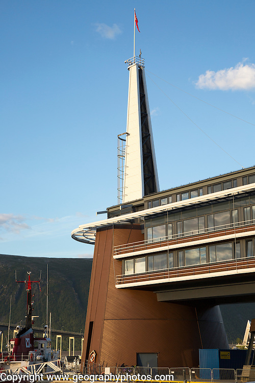 Modern architecture of Scandic Hotel and tower in city centre of Tromso, Norway