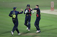 Joe Denly (R) of Kent celebrates with his team mates after taking the wicket of Varun Chopra during Kent Spitfires vs Essex Eagles, Vitality Blast T20 Cricket at the St Lawrence Ground on 2nd August 2018