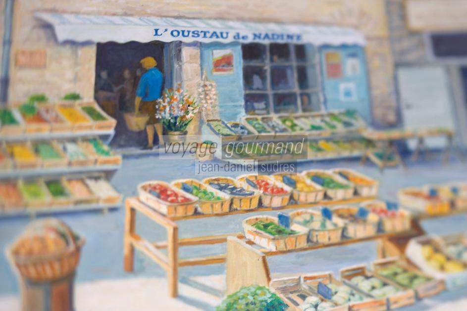 """Europe/France/Provence-Alpes-Cote d'Azur/Vaucluse: Nadine Pascal épicerié """"L'Oustau de Nadine"""" pl. du Château un tableau situé dans l'épicerie représente la boutique et son étal"""