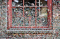 A photograph of the Post Alley gum wall adjacent to the Pike Place Market in Seattle.