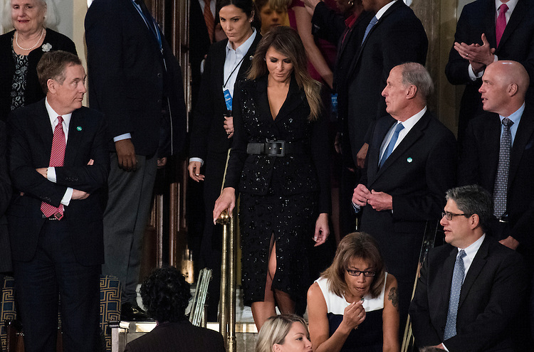 UNITED STATES - FEBRUARY 28: First Lady Melania Trump arrives for  President Donald Trump's address to a joint session of Congress on Tuesday, Feb. 28, 2017. (Photo By Bill Clark/CQ Roll Call)