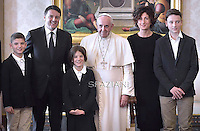 Pope Francis  meets Italian Premier Matteo Renzi  at the Vatican on December 13, 2014