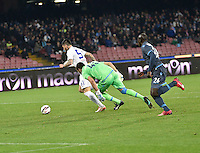 Mauricio Pinilla  shoots and scores during the Italian Serie A soccer match between   SSC Napoli and Atalanta  at San Paolo  Stadium in Naples ,March 22 , 2015<br /> <br /> <br /> incontro di calcio di Serie A   Napoli -Atalanta allo  Stadio San Paolo  di Napoli , 22  Marzo 2015