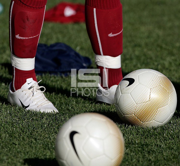 Nike shoes and ball during practice at the Montechoro Hotel soccer fields in Montechoro, March 11 of 2007, during the Algarve Women´s Cup.