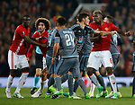 Eric Bailly of Manchester United reacts to Facundo Roncaglia of Celta Vigo during the Europa League Semi Final 2nd Leg match at Old Trafford Stadium, Manchester. Picture date: May 11th 2017. Pic credit should read: Simon Bellis/Sportimage