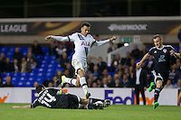 Rashad Sadygov of Qarabag FK tackles Dele Alli of Tottenham Hotspur during the UEFA Europa League match between Tottenham Hotspur and Qarabag FK at White Hart Lane, London, England on 17 September 2015. Photo by Andy Rowland.