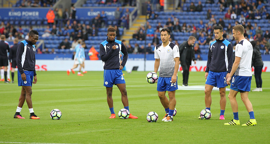 Leicester City's Shinji Okazaki during pre match warm up<br /> <br /> Photographer Rachel Holborn/CameraSport<br /> <br /> The Premier League - Leicester City v Burnley - Saturday 17th September 2016 - King Power Stadium - Leicester <br /> <br /> World Copyright &copy; 2016 CameraSport. All rights reserved. 43 Linden Ave. Countesthorpe. Leicester. England. LE8 5PG - Tel: +44 (0) 116 277 4147 - admin@camerasport.com - www.camerasport.com