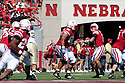 11 September 2010: Nebraska quarterback Taylor Martinez (3) drops back to pass to Nebraska wide receiver Niles Paul (24) against Idaho at Memorial Stadium in Lincoln, Nebraska. Nebraska defeated Idaho 38 to 17.