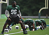 Mohammad Wilkerson #96 laughs with teammates as he stretches during New York Jets Training Camp at the Atlantic Health Jets Training Center in Florham Park, NJ on Monday, Aug. 14, 2017.