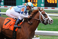 El Padrino (no. 7), ridden by Javier Castellano and trained by Todd Pletcher, holds off Mark Valeski and wins the 39th running of the grade 2 Risen Star Stakes for three year olds on February 25, 2012 at Fair Grounds Race Course in New Orleans, Louisiana.  (Bob Mayberger/Eclipse Sportswire)