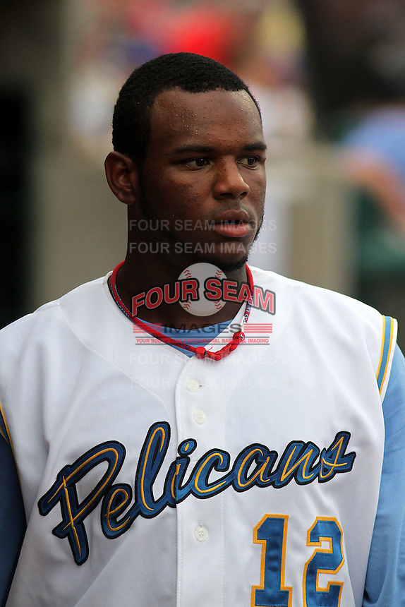 Myrtle Beach Pelicans shortstop Hanser Alberto #12 in the dugout during a game against the Winston-Salem Dash at Ticketreturn.com Field at Pelicans Park on July 11, 2012 in Myrtle Beach, South Carolina. Myrtle Beach defeated Winston-Salem by the score of 7-1. (Robert Gurganus/Four Seam Images)