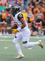College Park, MD - September 9, 2017: Towson Tigers running back Shane Simpson (13) runs the ball during game between Towson and Maryland at  Capital One Field at Maryland Stadium in College Park, MD.  (Photo by Elliott Brown/Media Images International)