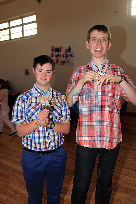 Jason McGivern and Ian McNamee at the welcome home party for the Drogheda Special Olympics team.<br /> Picture:  www.newsfile.ie