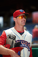 Clearwater Threshers Cord Sandberg (35) after a game against the Daytona Tortugas on April 20, 2016 at Bright House Field in Clearwater, Florida.  Clearwater defeated Daytona 4-2.  (Mike Janes/Four Seam Images)