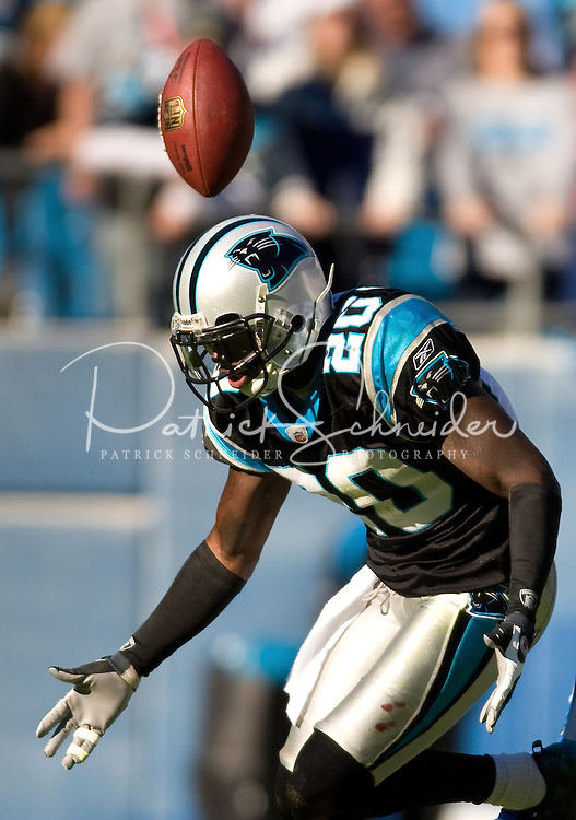 Carolina Panthers cornerback Chris Gamble (20) against the Detroit Lions during an NFL football game at Bank of America Stadium in Charlotte, NC.