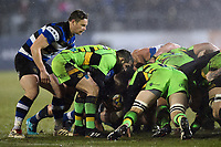 Cobus Reinach of Northampton Saints puts the ball into a scrum. Anglo-Welsh Cup Semi Final, between Bath Rugby and Northampton Saints on March 9, 2018 at the Recreation Ground in Bath, England. Photo by: Patrick Khachfe / Onside Images