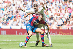 Real Madrid's Sergio Ramos and Levante's Alex Alegria during La Liga match between Real Madrid and Levante UD at Santiago Bernabeu Stadium in Madrid, Spain September 09, 2017. (ALTERPHOTOS/Borja B.Hojas)