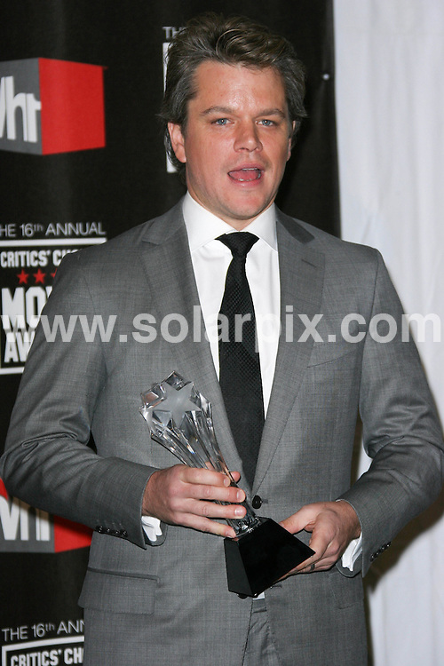 **ALL ROUND PICTURES FROM SOLARPIX.COM**                                             **SYNDICATION RIGHTS FOR UK, AUSTRALIA, DENMARK, PORTUGAL, S. AFRICA, SPAIN & DUBAI (U.A.E) & ASIA (EXCLUDING JAPAN) ONLY**                                                                                  Caption: .16th Annual Critics' Choice Movie Awards Press Room Hollywood Palladium -Hollywood, CA, USA                                                                              This pic:   Matt Damon                                                                                           JOB REF: 12667       PHZ/charlotte     DATE: 14.01.2011                                                           **MUST CREDIT SOLARPIX.COM OR DOUBLE FEE WILL BE CHARGED**                                                                      **MUST AGREE FEE BEFORE ONLINE USAGE**                               **CALL US ON: +34 952 811 768 or LOW RATE FROM UK 0844 617 7637**