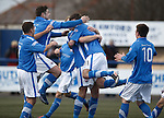 Ricky McIntosh mobbed after scoring for Montrose