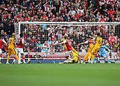 1st October 2017, Emirates Stadium, London, England; EPL Premier League Football, Arsenal versus Brighton; Nacho Monreal of Arsenal scores his sides first goal, 1-0 Arsenal