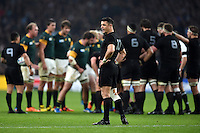 Dan Carter of New Zealand looks on. Rugby World Cup Semi Final between South Africa and New Zealand on October 24, 2015 at Twickenham Stadium in London, England. Photo by: Patrick Khachfe / Onside Images