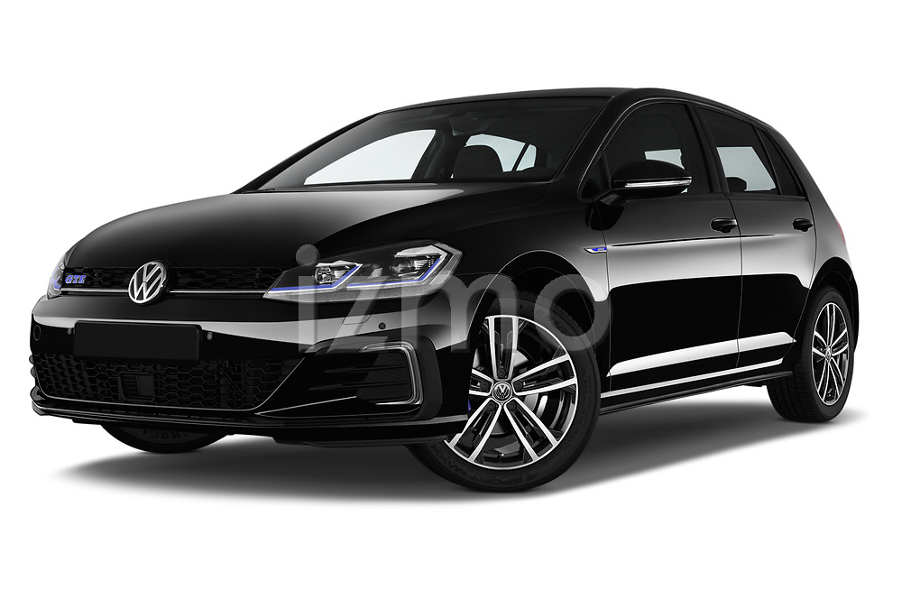 Stock pictures of low aggressive front three quarter view of a 2018 Volkswagen Golf GTE Base 5 Door Hatchback