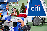 Washington, DC - August 3, 2019: Jessica Pegula (USA) rubs herself with an ice pack between match against Anna Kalinskaya (RUS) during the Citi Open WTA Singles Semi Finals at Rock Creek Tennis Center, in Washington D.C. (Photo by Philip Peters/Media Images International)