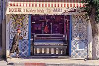 Ceramics, Nabeul, Tunisia.  Butcher Shop with Decorative Tile Panels.
