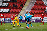 Wes Burns of Fleetwood Town cannot convert a loos ball during the Sky Bet League 1 match between Charlton Athletic and Fleetwood Town at The Valley, London, England on 17 March 2018. Photo by Carlton Myrie.