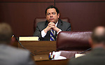 Nevada Senate Majority Leader Michael Roberson, R-Henderson, listens to testimony during a hearing at the Legislative Building in Carson City, Nev., on Thursday, March 26, 2015. <br /> Photo by Cathleen Allison