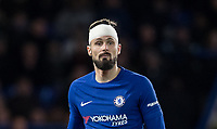 Olivier Giroud of Chelsea with his head bandaged after a head injury during the Premier League match between Chelsea and West Bromwich Albion at Stamford Bridge, London, England on 12 February 2018. Photo by Andy Rowland.