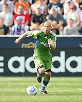 Freddie Ljungberg #10 of the Seattle Sounders FC moves the ball up field against the Philadelphia Union during the first MLS match at PPL stadium in Chester, PA. on June 27 2010. Union won 3-1.