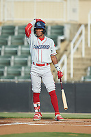 Luis Garcia (3) of the Lakewood BlueClaws at bat against the Kannapolis Intimidators at Kannapolis Intimidators Stadium on July 18, 2019 in Kannapolis, North Carolina. The Intimidators defeated the BlueClaws 7-1. (Brian Westerholt/Four Seam Images)