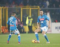 Nikola Maksimovic of Napoli Lorenzo Insigne of Napoli  during the  italian serie a soccer match,Atalanta - SSC Napoli at  the Atleti azure d'italia   stadium in Bergamo Italy , December 03, 2018