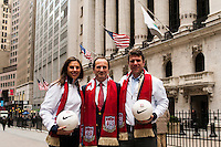 U.S. women national team midfielder Carli Lloyd, New York Red Bulls General Manager Jerome de Bontin, and former U.S. Men's National Team star Jeff Agoos pose for a photo outside the NYSE during the centennial celebration of U. S. Soccer at the New York Stock Exchange in New York, NY, on April 02, 2013.