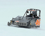 David Haller of Wahpeton, ND powers his Outlaw 600 Arctic Cat through turn two at the AMSOIL World Championship Snowmobile Derby on Sunday, Jan. 19.