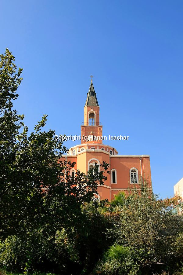 Israel, Tel Aviv-Yafo. The Russian Orthodox Church of St. Peter as seen from the Botanical Ecological Park in Abu Kabir