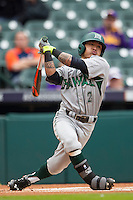 Hawaii Rainbow Warriors outfielder Kaeo Aliviado (2) swings the bat during the NCAA baseball game against the Nebraska Cornhuskers on March 7, 2015 at the Houston College Classic held at Minute Maid Park in Houston, Texas. Nebraska defeated Hawaii 4-3. (Andrew Woolley/Four Seam Images)