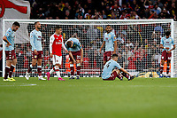 Aston Villa players crestfallen during the Premier League match between Arsenal and Aston Villa at the Emirates Stadium, London, England on 22 September 2019. Photo by Carlton Myrie / PRiME Media Images.