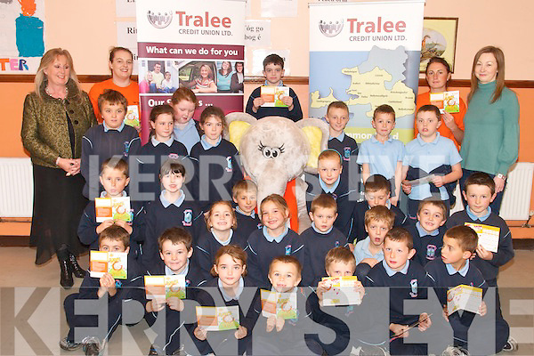"SAVING: Second Class pupils from Ardfert National School at the launch of the Tralee Credit Union ""Save With Ellie The Elephant "" scheme for school in the region. The launch took place in Ardfert NS on Thursday..Front L/r. Niall Marley, David Ryle, Mollie Walsh, Jack Murphy, Oisin Le Gros, Aaron Craske, Kacper Sunklad..Second row L/r. Brian O'Regan, Vicki Perry, Aoife Lyne, David Fitzgerald, Armela Antz, Dylan Forth, Loughlin Morrisson, Gavin Hussey, Zyndir Griffin, Niall O'Shea..Third row L/r. Ronan McElligott, Conagh Fitzgerald, Christine Doherty, Amy Casey, Ailise Ryan, Daragh Lowth, Colm Healy, Dillon Usher-Moran..Back row L/r. Betty Stack (Principle), Orla O'Shea (Tralee Credit Union), Trevor Hussey, Aisling O'Connor (Tralee Credit Union) and Marie O'Connell (Second Class teacher in Ardfert NS).   Copyright Kerry's Eye 2008"