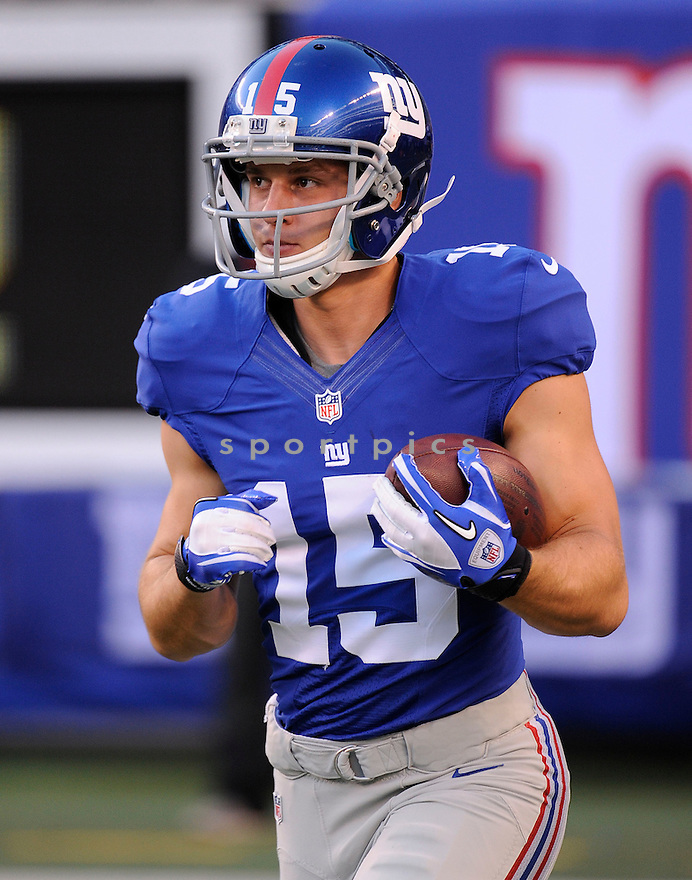 DAN DEPALMA (15) of the New York Giants, in action during the Giants preseason game against the New England Patriots on August 29, 2012 at MetLife Stadium in East Rutherford, NJ. The Giants beat the Patriots 6-3.