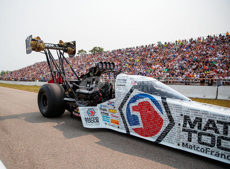 Aug 18, 2018; Brainerd, MN, USA; NHRA top fuel driver Antron Brown during qualifying for the Lucas Oil Nationals at Brainerd International Raceway. Mandatory Credit: Mark J. Rebilas-USA TODAY Sports