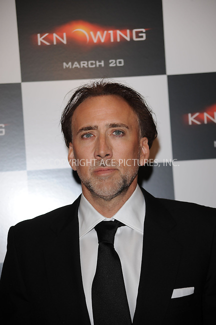 WWW.ACEPIXS.COM . . . . . ....March 9 2009, New York City....Actor Nicolas Cage arriving at the premiere of 'Knowing' at the AMC Loews Lincoln Square on March 9, 2009 in New York City.....Please byline: KRISTIN CALLAHAN - ACEPIXS.COM.. . . . . . ..Ace Pictures, Inc:  ..tel: (212) 243 8787 or (646) 769 0430..e-mail: info@acepixs.com..web: http://www.acepixs.com